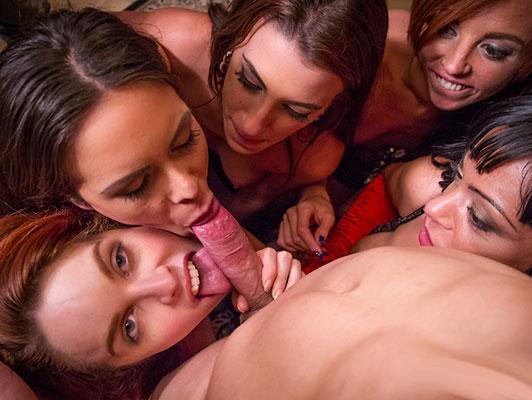 Imagen Porno hecho en España, orgia sexual con pelirroja Amarna Miller y cuatro amigos