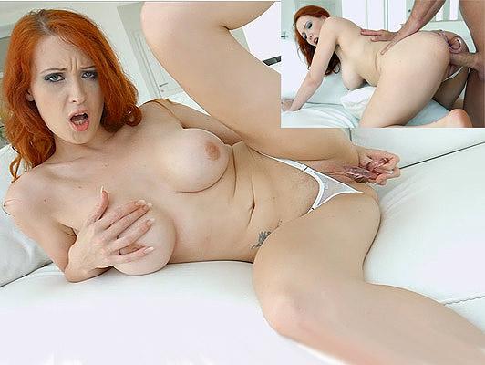 Imagen Tetona pelirroja chica en tanga juega con un consolador en el coño hasta que se follada por su culo