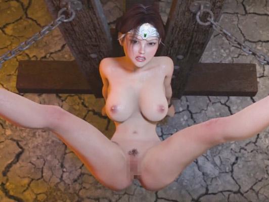 Imagen Porno Hentai 3D. La violación de una princesa sexy y tetona atada a un poste tortura