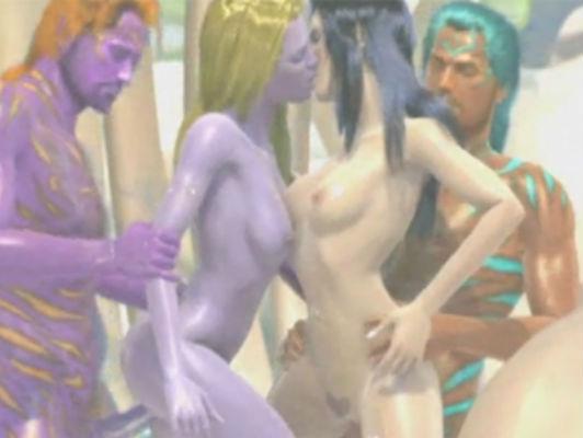 Imagen 3D hentai orgía monstruo
