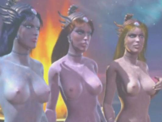 Imagen fantasía en 3D hentai con tres humanoides niñas